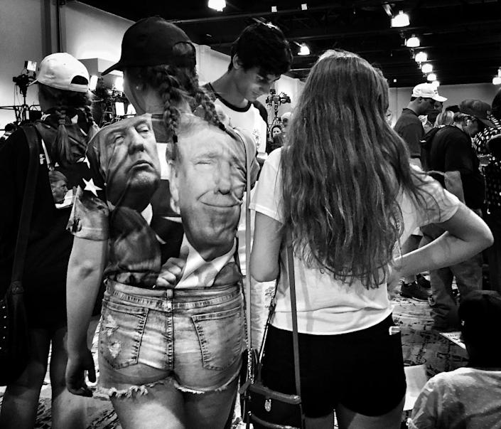 <p>A woman wears a Donald Trump shirt at a Trump rally on June 17 in the Woodlands, Texas. (Photo: Holly Bailey/Yahoo News) </p>