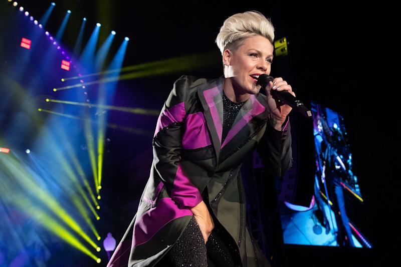 """""""My heart goes out to our friends and family in Oz,"""" Pink wrote on Instagram. (Photo: SUZANNE CORDEIRO via Getty Images)"""