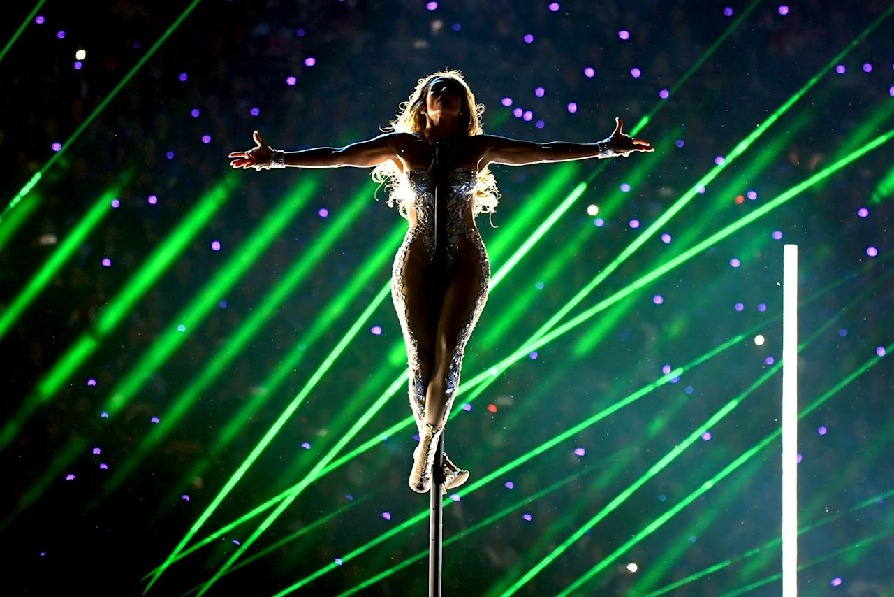 Jennifer Lopez performs onstage during the Pepsi Super Bowl LIV Halftime Show at Hard Rock Stadium on February 02, 2020 in Miami, Florida. (Photo by Kevin Winter/Getty Images)