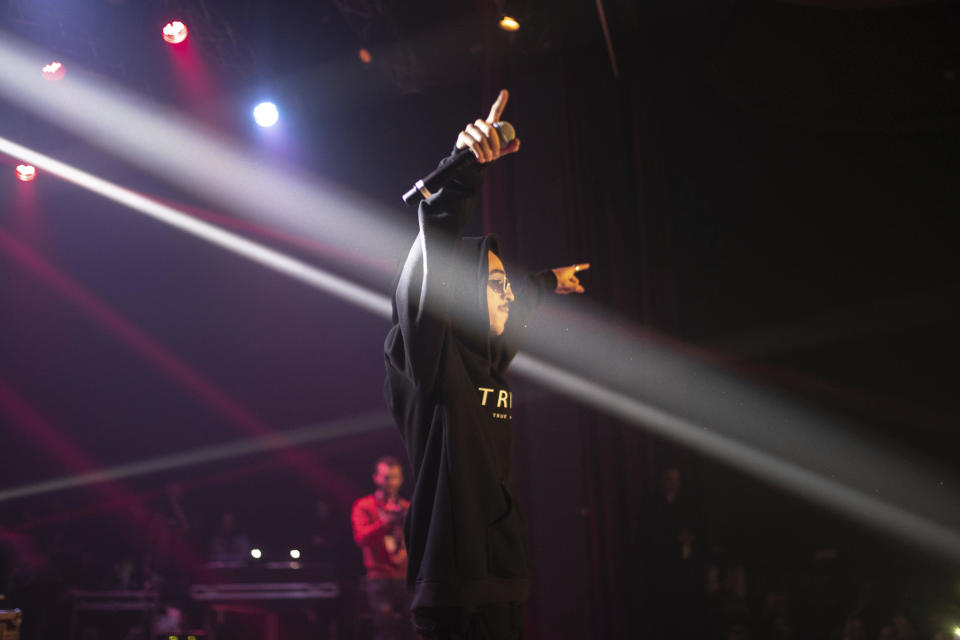In this Friday, Nov. 22, 2019 photo, Moroccan rapper Madd performs at a rap concert as part of the Visa for Music festival in Rabat, Morocco. (AP Photo/Mosa'ab Elshamy)