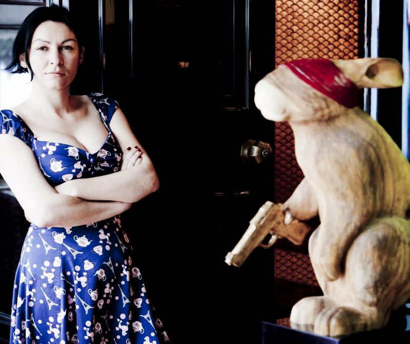 RAGING RABBIT: Emma Maxwell with her sculpture of Robert the First, titled, Well Bred, Well Fed And Well Misled.
