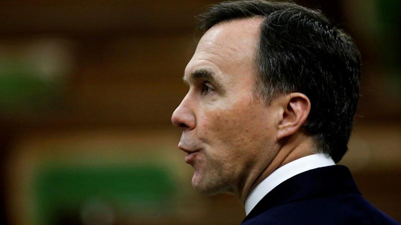 Canada's Finance Minister Bill Morneau speaks in the House of Commons on April 11, 2020