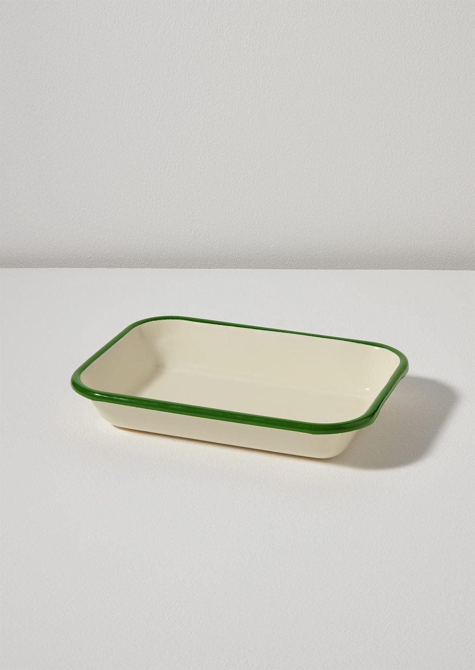 """<br><br><strong>Toast</strong> Medium Enamel Dish, $, available at <a href=""""https://www.toa.st/collections/homeware/products/medium-enamel-dish-cream-leaf"""" rel=""""nofollow noopener"""" target=""""_blank"""" data-ylk=""""slk:Toast"""" class=""""link rapid-noclick-resp"""">Toast</a>"""