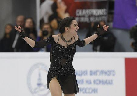 Figure Skating - ISU Grand Prix Rostelecom Cup 2017 - Ladies' Free Skating - Moscow, Russia - October 21, 2017 - Evgenia Medvedeva of Russia reacts after the performance. REUTERS/Alexander Fedorov