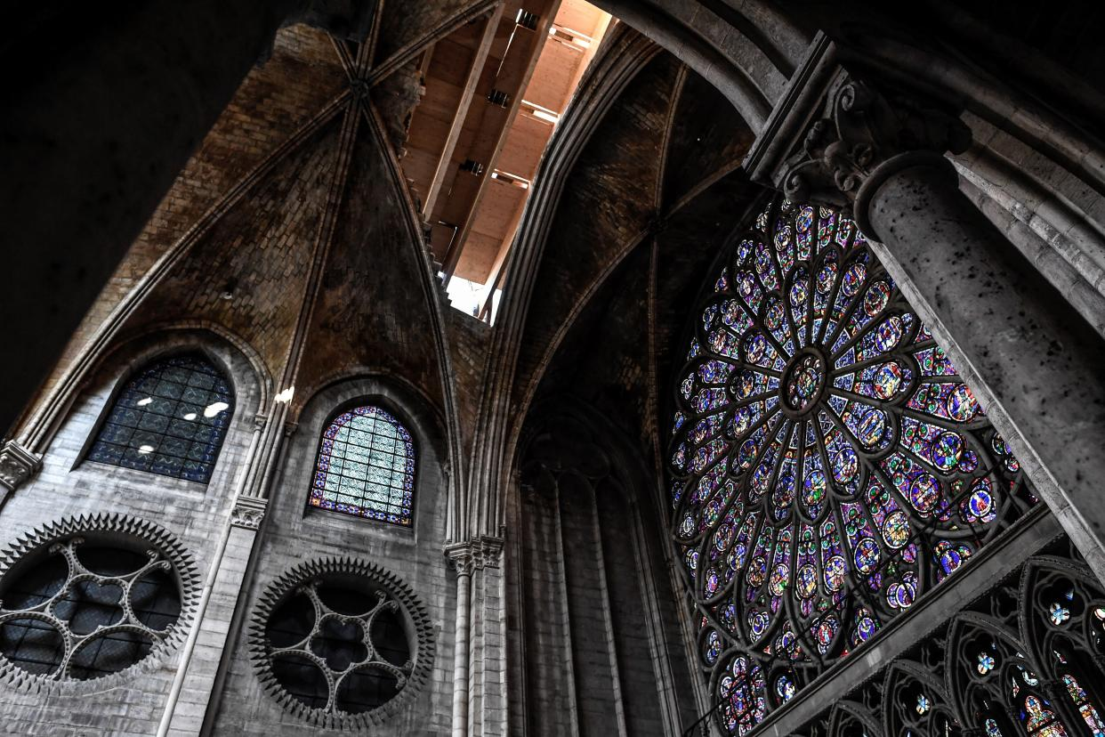 The rose window is pictured during preliminary work in the Notre Dame Cathedral three months after a major fire July 17, 2019 in Paris. (Photo: Stephane de Sakutin/Pool via AP)