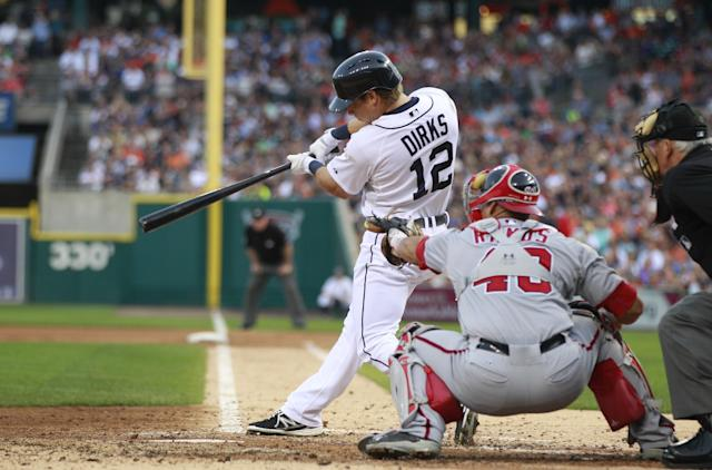 Detroit Tigers' Andy Dirks connects for an RBI double off Washington Nationals starting pitcher Stephen Strasburg during the fourth inning of a baseball game in Detroit, Tuesday, July 30, 2013. (AP Photo/Carlos Osorio)
