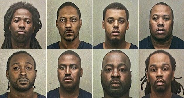 Eight of the nine men held as part of the South Florida Youth Football League betting investigation — Broward County Sheriff's Office