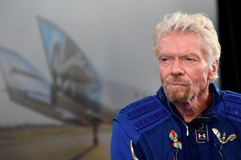Sir Richard Branson speaks after he flew into space aboard the Virgin Galactic vessel (AFP/Patrick T. FALLON)
