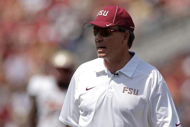 TALLAHASSEE, FL - APRIL 12: Head coach Jimbo Fisher of the Florida State Seminoles watches action during Florida State's Garnet and Gold spring game at Doak Campbell Stadium on April 12, 2014 in Tallahassee, Florida. (Photo by Stacy Revere/Getty Images)