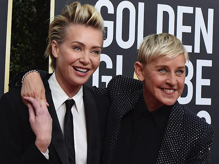 Portia de Rossi, left, and Ellen DeGeneres arrive at the 77th annual Golden Globe Awards at the Beverly Hilton Hotel on Sunday, Jan. 5, 2020.