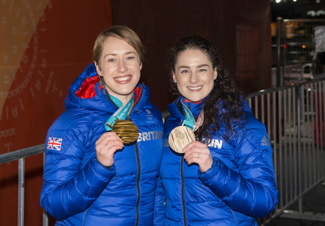 Lizzy Yarnold and Laura Deas celebrate with their medals (Andy J Ryan/Team GB)