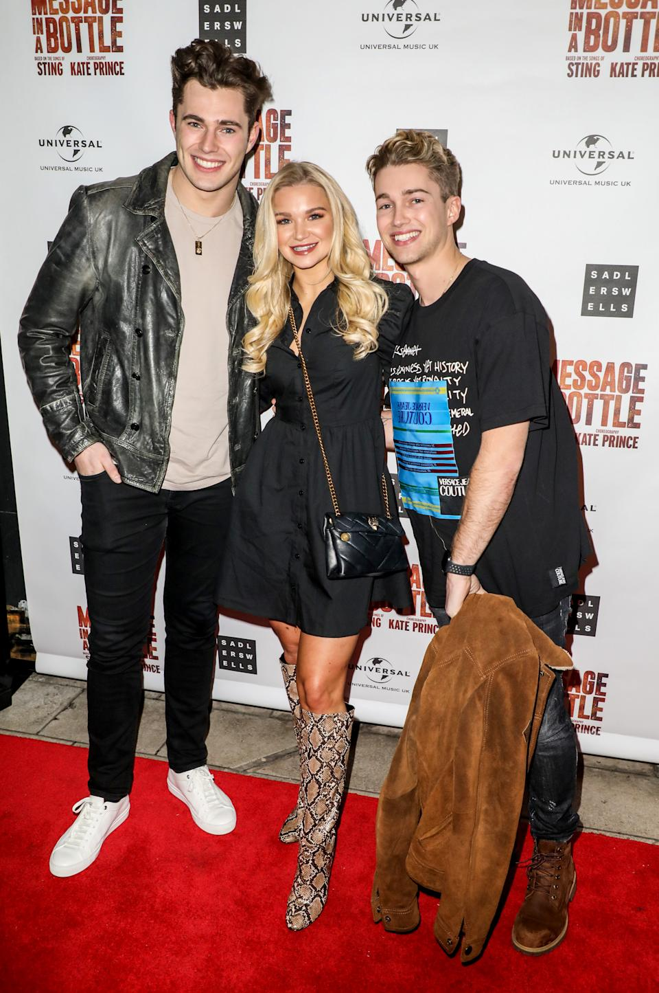Curtis Pritchard, Abbie Quinnen and AJ Pritchard attending a press night for Message in a Bottle at the Peacock Theatre in London (Photo by Brett Cove / SOPA Images/Sipa USA)