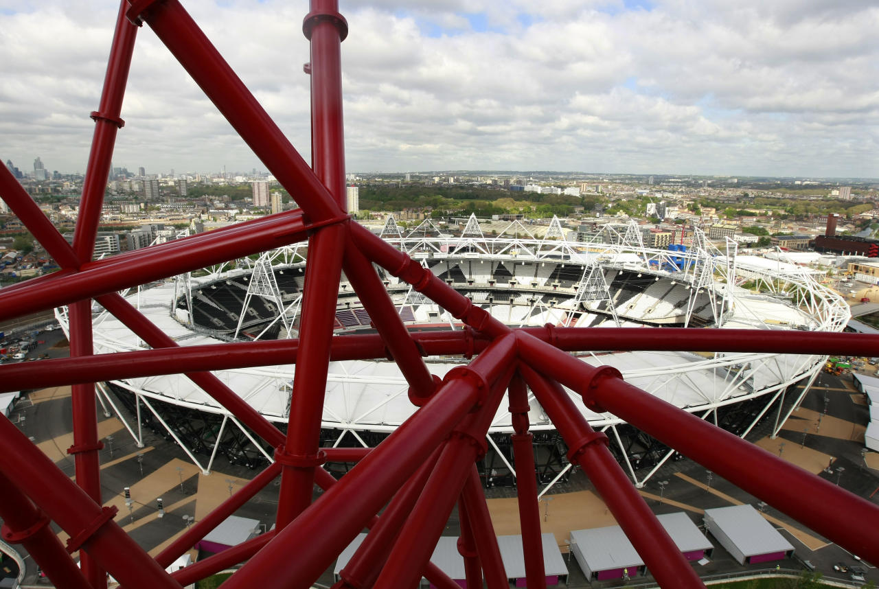 The view from the ArcelorMittal Orbit sculpture before its official unveiling at the Olympic Park, London, Friday May 11, 2012. The steel sculpture designed by Anish Kapoor and Cecil Balmond stands 114.5 meters (376ft) high, 63% of of the sculpture is recycled steel and incorporates the five Olympic rings. (AP Photo/Tim Hales)