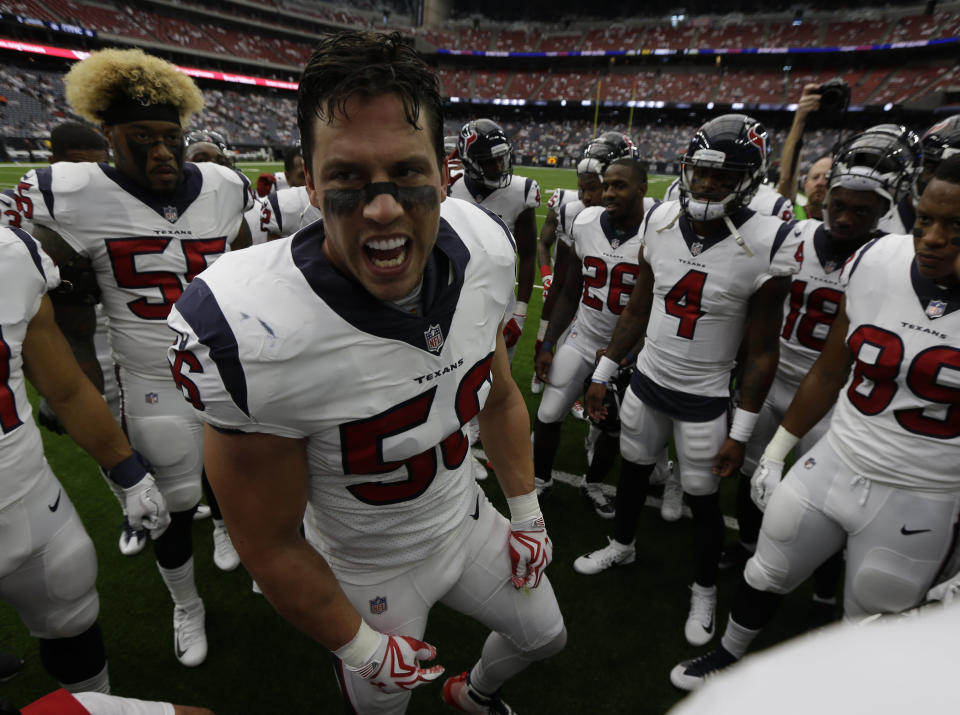 Houston Texans inside linebacker Brian Cushing (56) was suspended 10 games by the NFL. (AP)