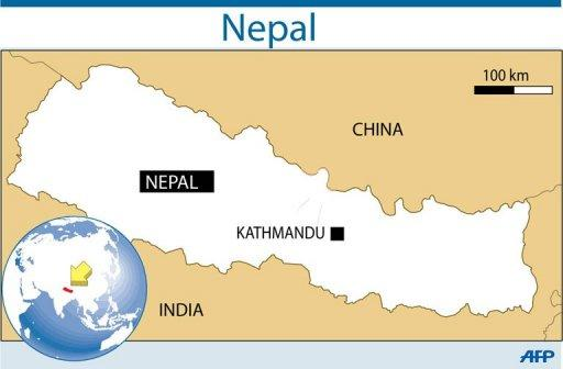 "Map of Nepal, where the International Labor Organization is working with Kathmandu to implement a ""master plan"" to eliminate the worst forms of child labour by 2016"