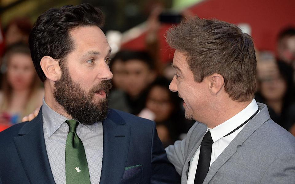 Paul Rudd (Ant-Man) and Jeremy Renner (Hawkeye) sharing a moment. Credit: PA