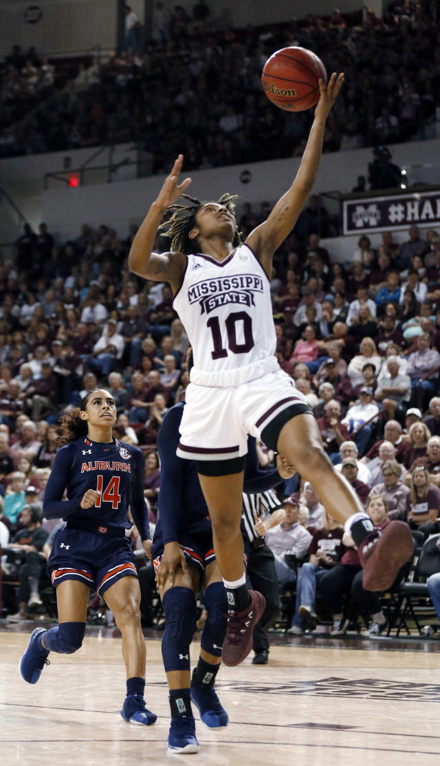 Mississippi State guard Jazzmun Holmes (10) attempts a layup against Auburn during the second half of an NCAA college basketball game in Starkville, Miss., Thursday, Feb. 22, 2018. Mississippi State won 82-61. (AP Photo/Rogelio V. Solis)