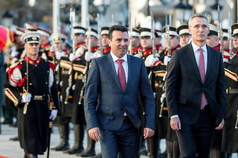 NATO Secretary General Jens Stoltenberg (R) says the name issue must be resolved before Macedonia can be allowed to join the defence alliance