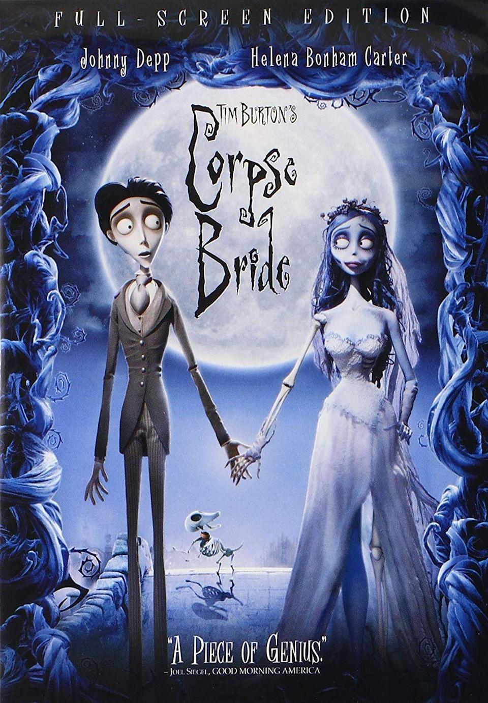 """<p>There are so many Tim Burton movies on this list because he is the king of great Halloween movies. This one is about Victor, who accidentally marries a corpse bride, forcing him to decide between staying married to her or leaving her for his former fiancé, Victoria. </p><p><a class=""""link rapid-noclick-resp"""" href=""""https://www.amazon.com/Burtons-Corpse-Bride-Johnny-Depp/dp/B0091XEGTI/?tag=syn-yahoo-20&ascsubtag=%5Bartid%7C10065.g.29354714%5Bsrc%7Cyahoo-us"""" rel=""""nofollow noopener"""" target=""""_blank"""" data-ylk=""""slk:Watch Now"""">Watch Now</a></p>"""