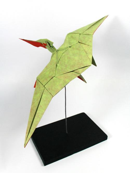 Origami art - Young Pteranodon. A geometric Pteranodon. I call it young because of the short crest. I'm working on an adult version with bigger and color changed crest.