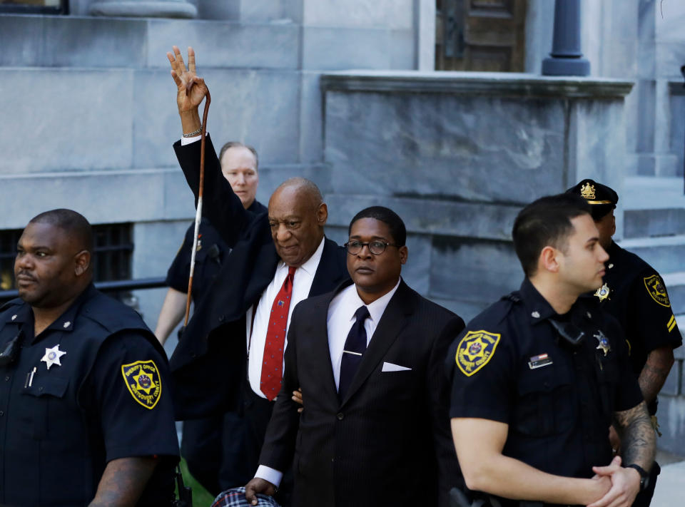 FILE - Bill Cosby gestures as he leaves the Montgomery County Courthouse on April 26, 2018, in Norristown, Pa., after he was convicted of drugging and molesting a woman in the first big celebrity trial of the #MeToo era. Pennsylvania's highest court has overturned comedian Cosby's sex assault conviction. The court said Wednesday, June 30, 2021, that they found an agreement with a previous prosecutor prevented him from being charged in the case. (AP Photo/Matt Slocum, File)