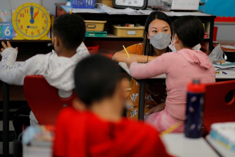 FILE PHOTO: Classes are held with masks being required to be worn at the Sokolowski School in Chelsea