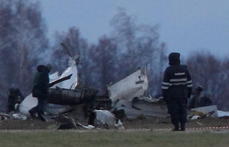 FILE PHOTO: Wreckage is seen at the site of a Tatarstan Airlines Boeing 737 crash at Kazan airport