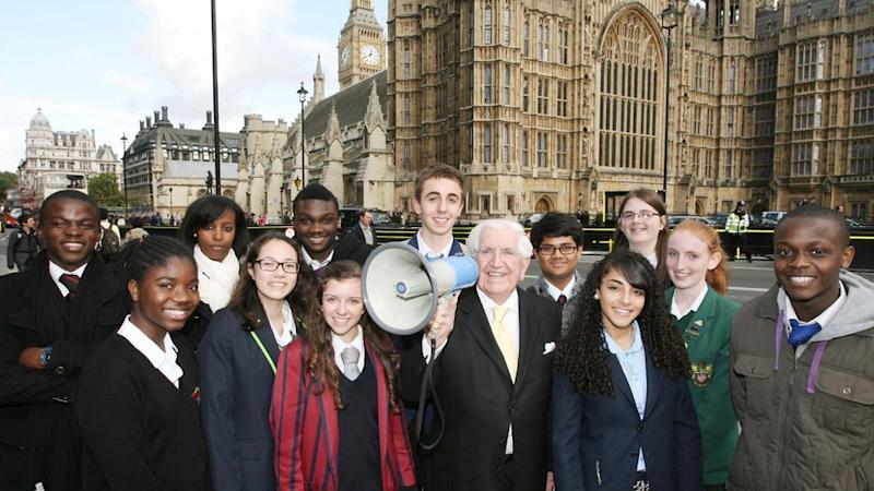 Sir Jack with Speak Out winners at Parliament