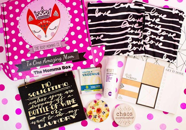 """<p>This is the subscription box that wears motherhood on its sleeve, warts and all. Each box comes with between five and seven goodies, including lists of mom hacks, self-care items, products that'll help keep families clean and organized, clothing and accessories, all with a sassy mom attitude. </p><p><strong>Price:</strong> $40/box </p><p><a class=""""link rapid-noclick-resp"""" href=""""https://www.theboxymommaco.com/"""" rel=""""nofollow noopener"""" target=""""_blank"""" data-ylk=""""slk:BUY NOW"""">BUY NOW</a></p>"""