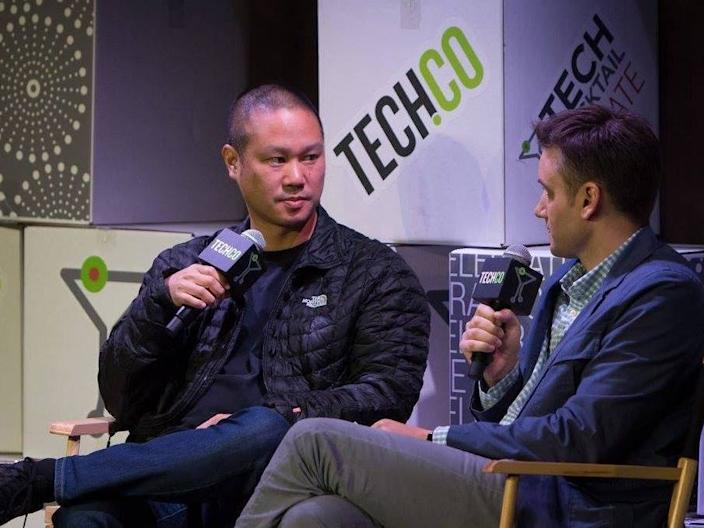 Tony Hsieh with friend Frank Gruber, a fellow entrepreneur and CEO of Established, at the Tech Cocktail Celebrate event in 2014.