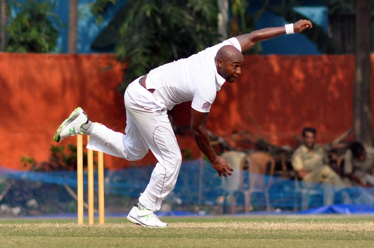 West Indies player T Best in action during Day 2 of practice match between West Indies and Uttar Pradesh Cricket Association XI at the Jadavpur University Ground in Kolkata on Nov.1, 2013. (Photo: IANS)