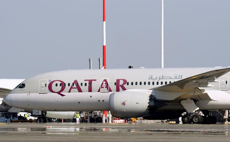 FILE PHOTO: A Qatar Airways Boeing 787 airplane is pictured at Leonardo da Vinci-Fiumicino Airport in Rome