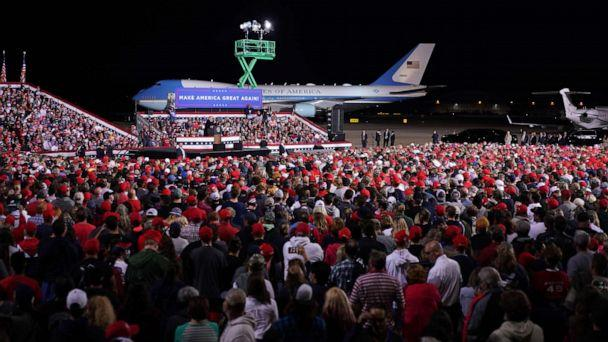 PHOTO: President Donald Trump speaks during a campaign rally at Pittsburgh International Airport in Moon Township, Pennsylvania, Sept. 22, 2020. (Mandel Ngan/AFP via Getty Images)