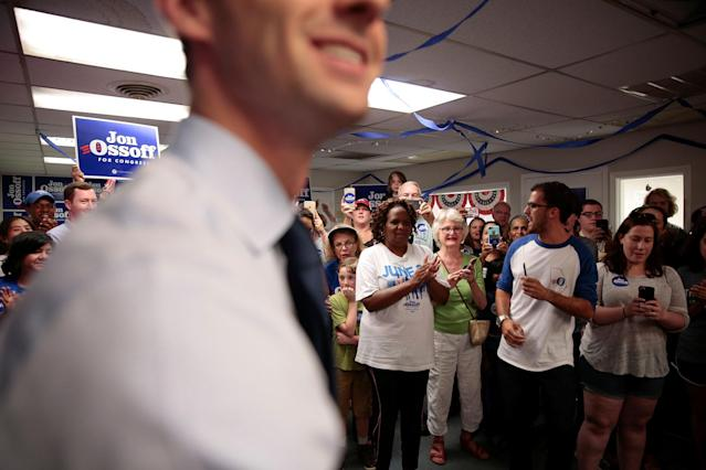 <p>Democratic candidate Jon Ossoff greets supporters while campaigning for Georgia's 6th Congressional District special election in Tucker, Ga., June 19, 2017. (Photo: Chris Aluka Berry/Reuters) </p>