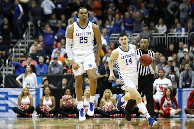 "<a class=""link rapid-noclick-resp"" href=""/ncaab/players/141955/"" data-ylk=""slk:PJ Washington"">PJ Washington</a> scored 16 and Tyler Herro (14) hit what turned out to be the game-winning shot. (Photo by Jamie Squire/Getty Images)"