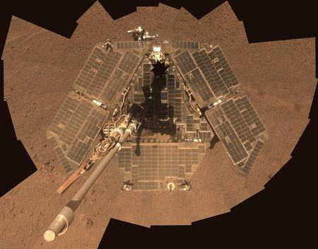 FILE PHOTO: NASA's Mars Exploration Rover Opportunity is shown in this handout photo released to Reuters July 29, 2014. REUTERS/NASA/JPL-Caltech/Cornell Univ./Arizona State University/Handout