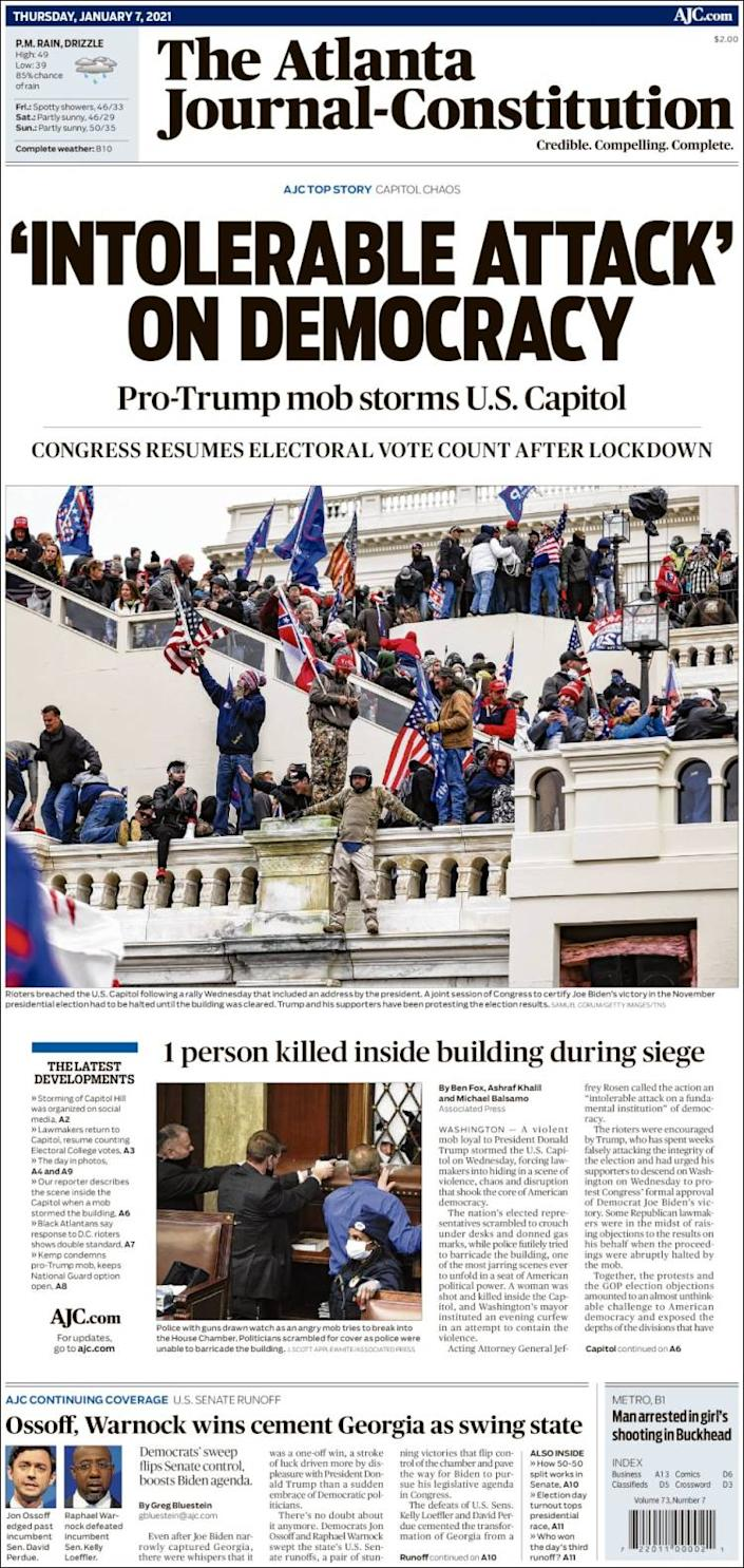 Front page of the Atlanta Journal-Constitution on Thursday