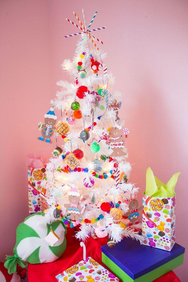 """<p>For a tree that looks sweet enough to eat, cover it in DIY treat ornaments and wooden candy canes and top it off with a pom pom garland.</p><p><strong><em>Get the tutorial at <a href=""""https://designimprovised.com/2018/12/kids-week-candy-themed-christmas-tree.html"""" rel=""""nofollow noopener"""" target=""""_blank"""" data-ylk=""""slk:Design Improvised"""" class=""""link rapid-noclick-resp"""">Design Improvised</a>. </em></strong></p><p><a class=""""link rapid-noclick-resp"""" href=""""https://www.amazon.com/Colorful-Handmade-Garlands-Christmas-Decoration/dp/B07XFKS97Z?tag=syn-yahoo-20&ascsubtag=%5Bartid%7C10070.g.2025%5Bsrc%7Cyahoo-us"""" rel=""""nofollow noopener"""" target=""""_blank"""" data-ylk=""""slk:SHOP POM POM GARLAND"""">SHOP POM POM GARLAND</a></p>"""