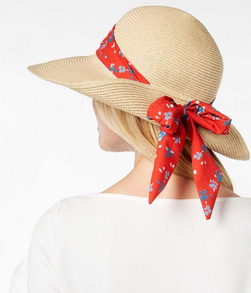 Hat with red floral ribbon. (Photo: Nine West/Macy's)