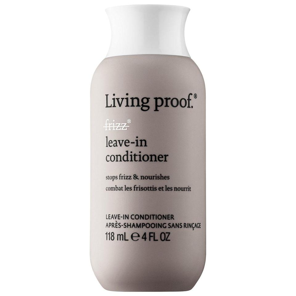 """<p><strong>Living Proof</strong></p><p>sephora.com</p><p><strong>$27.00</strong></p><p><a href=""""https://go.redirectingat.com?id=74968X1596630&url=https%3A%2F%2Fwww.sephora.com%2Fproduct%2Fno-frizz-leave-in-conditioner-P244511&sref=https%3A%2F%2Fwww.harpersbazaar.com%2Fbeauty%2Fhair%2Fg5620%2Fbest-leave-in-conditioners%2F"""" rel=""""nofollow noopener"""" target=""""_blank"""" data-ylk=""""slk:SHOP"""" class=""""link rapid-noclick-resp"""">SHOP</a></p><p>When applied to frizz-prone strands, this leave-in creates an invisible coating on hair that holds in moisture so your locks won't pouf out. It also blocks dirt and oil buildup, which means you can shampoo less. So go ahead and enjoy that second, third, and even fourth-day fresh smoothness.</p>"""