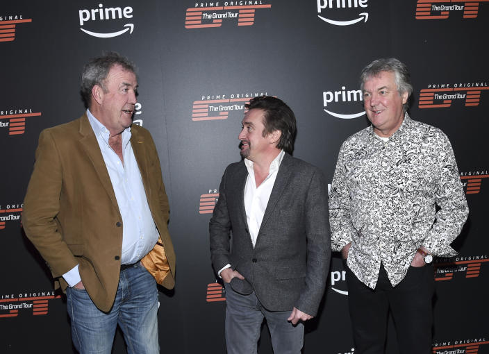 """Co-hosts Jeremy Clarkson, from left, Richard Hammond and James May attend Amazon Studio's """"The Grand Tour"""" season two premiere screening and party at Duggal Greenhouse on Thursday, Dec. 7, 2017, in New York. (Photo by Evan Agostini/Invision/AP)"""