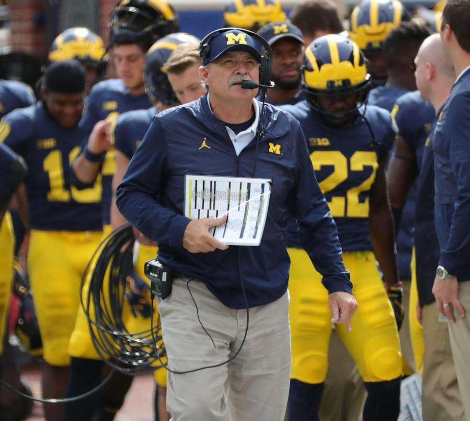 Michigan defensive coordinator Don Brown on the sideline during the second half against Nebraska on Saturday, Sept. 22, 2018 at Michigan Stadium in Ann Arbor.
