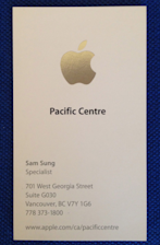 Sam sung auctions off his apple business card for charity memorabilia an apple business card from former specialist sam sung the man who shares the name with apples main competitor worked at the tech giant colourmoves