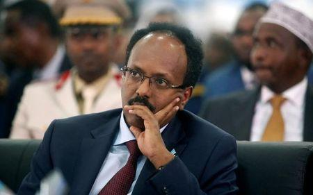 Somalia's newly elected President Mohamed Abdullahi Farmaajo attends his inauguration ceremony in Somalia's capital Mogadishu