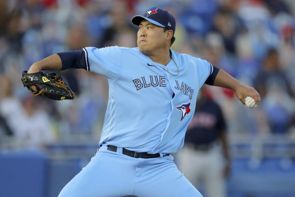Toronto Blue Jays starting pitcher Hyun Jin Ryu throws to a Boston Red Sox batter during the first inning of a baseball game Tuesday, May 18, 2021, in Dunedin, Fla. (AP Photo/Mike Carlson)