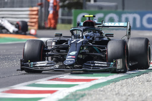Mercedes driver Valtteri Bottas of Finland steers his car during the third practice session for Sunday's Italian Formula One Grand Prix, at the Monza racetrack in Monza, Italy, Saturday, Sept. 5 , 2020. (Luca Bruno, Pool via AP)