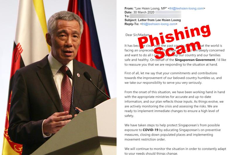 In his Facebook post, Prime Minister Lee Hsien Loong shared an image (right) of the fake e-mail claiming to be from him. (PHOTOS: Yahoo News Singapore file photo, Facebook / Lee Hsien Loong)