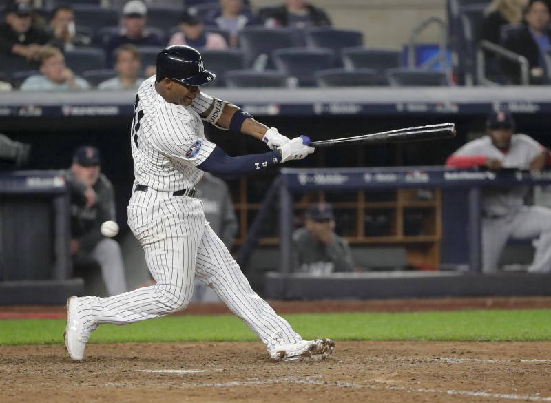 New York Yankees' third baseman Miguel Andujar has made a strong case for AL Rookie of the Year. (AP)