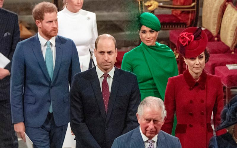 Prince William and Kate, Duchess of Cambridge, with Prince Harry and Meghan Duchess of Sussex at the couple's final royal engagement - Phil Harris