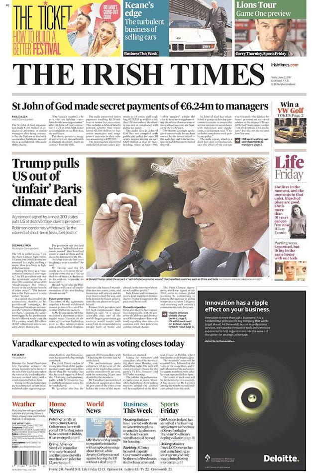 "<p>""The Irish Times,"" published in Dublin, Ireland. (Newseum) </p>"